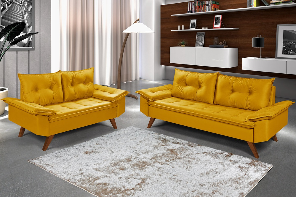 Conjunto Sofá Bariloche 2 e 3 Lugares em Suede Amarelo