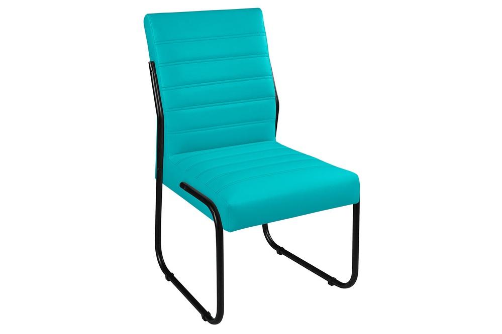 Cadeira Para Escritório ou Sala de Jantar em Couro Sintético Azul Turquesa Pés em Aço na Cor Preta