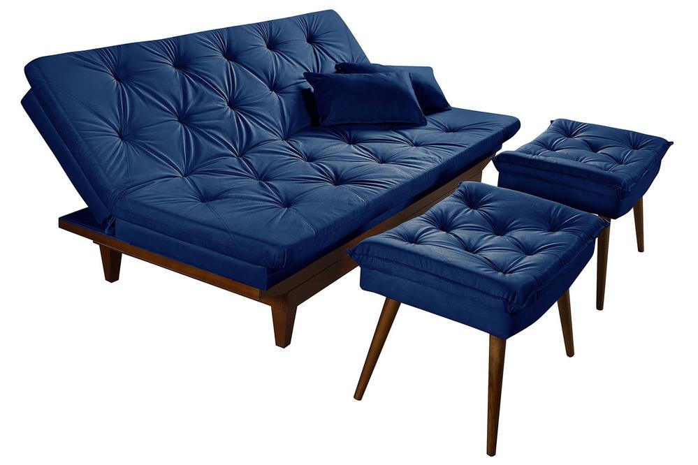 Sofa Cama Reclinavel Caribe + Duas Banquetas Rubi em Suede Azul Marinho