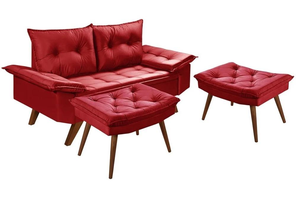 Sofá 2 Lugares Bariloche Vermelho Com Duas Banquetas Rubi em Suede