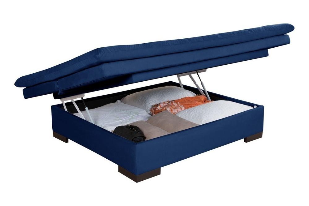 Sofá Cama Com Baú Reclinável Liso - Azul Marinho em Courino