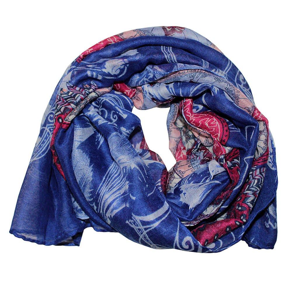 Lenço Fino Étnico Azul Royal Pink - Chérie Bijoux e9becbcc641