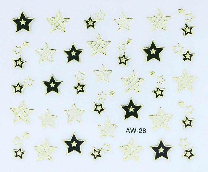 Aparador De Pelos Feminino Intimo ~ Adesivo De Unha Estrelas Preta Dourada Chérie Bijoux